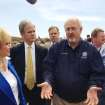 FEMA administrator Craig Fugate spoke with, from left, Gov. Fallin, Sen. Tom Coburn and Rep. Tom Cole on Tuesday, May 21, outside Plaza Towers elementary school in Moore, OK.  Photo by William Crum, The Oklahoman