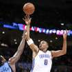 Thunder rookie Russell Westbrook is shooting 36.5 percent for the season on non-dunks. Photo BY HUGH SCOTT, THE OKLAHOMAN