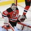 New Jersey Devils goaltender Martin Brodeur makes a save during the first period of an NHL hockey game against the Carolina Hurricanes Tuesday, Feb. 12, 2013, in Newark, N.J. (AP Photo/Bill Kostroun)