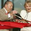 Chickasaw Nation Governor Bill Anoatubby and Rep. Mary Fallin cut the ribbon during ceremonies for the first building to be completed at the  American Indian Cultural Center & Museum in Oklahoma City , Okla. October 10, 2008.  BY STEVE GOOCH, THE  OKLAHOMAN