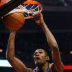 Oklahoma City Thunder's Kevin Durant dunks against Chicago Bulls during the first quarter of an NBA  basketball game Saturday, Jan. 10, 2009  in Chicago.(AP Photo/Nam Y. Huh)  ORG XMIT: CXA101