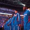 The Oklahoma City Thunder line up for the National Anthem the first round NBA basketball playoff game between the Oklahoma City Thunder and the Denver Nuggets on Wednesday, April 20, 2011, at the Oklahoma City Arena. Photo by Sarah Phipps, The Oklahoman