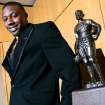 Tennessee's Eric Berry poses with the Jim Thorpe Award prior to the banquet at the National Cowboy and Western Heritage Museum on Monday.  Photo by John Clanton, The Oklahoman