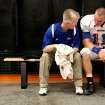 Moore head football coach Scott Myers talks with quarterback Vova Razryvin before a game at Norman High School in Norman on Friday, Sept. 10, 2010. Scott Myers has renal kidney cancer. Photo by John Clanton, The Oklahoman