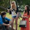 This publicity image released by A24 Films shows, from left, Israel Broussard, Claire Vivien and Katie Chang in a scene from