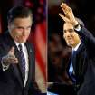 In this photo combo, Republican presidential candidate, former Massachusetts Gov. Mitt Romney gestures to supporters during his election night rally in Boston, left, and President Barack Obama waves to the crowd of supporters at his election night party in Chicago, Wednesday, Nov. 7, 2012. Obama defeated Romney to win a second term. (AP Photos)