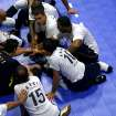 The Brazilian team huddle together during a timeout at the fourth day of competition at the World Sitting Volleyball championships  on the University of Central Oklahoma campus in Edmond, Okla., on Wednesday, July 14, 2010. Photo by John Clanton, The Oklahoman