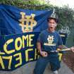 Diehard UC Irvine Anteaters baseball fan Keith Franklin wears some of his