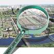 MAGNIFYING GLASS / URBAN LAND INSTITUTE / GRAPHIC WITH PHOTO: DRAWING: This rendering offers an idea of what city leaders anticipate the area between downtown and the Oklahoma River will look like once it is redeveloped during the next three decades as part of the Core to Shore process. - PROVIDED BY THE CITY OF OKLAHOMA CITY    ILLUSTRATION BY CHRIS SCHOELEN, THE OKLAHOMAN GRAPHICS