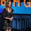 Julia Roberts speaks at the 56th annual Grammy Awards at Staples Center on Sunday, Jan. 26, 2014, in Los Angeles. (Photo by Matt Sayles/Invision/AP)