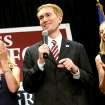 With his wife Cindy (left) and daughter Hannah applauding behind him, James Lankford speaks to supporters during a watch party at the Oklahoma Sports Hall of Fame in Oklahoma City on Tuesday, August 24, 2010. Photo by John Clanton, The Oklahoman