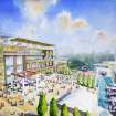 This artist rendering provided by the Atlanta Braves shows the team's proposed new ballpark and mixed-use development design in Cobb County,  including the plaza outside the stadium.  (AP Photo/Atlanta Braves)