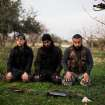 FSA fighters pray after an attack on a Military Academy in Tal Sheer village, north of Aleppo province, Syria, Thursday, Dec 13, 2012. (AP Photo / Manu Brabo)   ORG XMIT: MB117