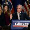 Sen. Bob Corker, R-Tenn., surrounded by, from left, his wife Elizabeth, and daughters Emily and Julia, speaks to supporters at an election night victory rally at the Cabana Restaurant on Tuesday, Nov. 6, 2012, in Nashville, Tenn. Corker defeated Democrat Mark Clayton. (AP Photo/Mark Zaleski)