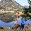 Emili and Andrew Mitchell relax beside Mary's Lake.  They recently vacationed in Colorado with grandparents Gary and Miriam Mitchell.  Community Photo By:  Gary Mitchell  Submitted By:  Gary,
