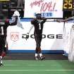 Oklahoma City Yard Dawgz Tacoma Fontaine (#1) celebrates with fan and Oliver Fletcher (#21) after scoring the last touchdown for the game.  This victory over Rio Grande Valley Dorados, places OKC at 7-2 for the season.  Next weekend the Yard Dawgz will be hosted by Tulsa.  Community Photo By:  Robert Trawick  Submitted By:  Robert, Oklahoma City