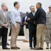 President Barack Obama greets Midwest City Mayor Jack Fry, U.S. Rep. Tom Cole and Oklahoma City Mayor Mick Cornett  after landing at Tinker Air Force Base in Midwest City, Okla., Sunday, May 25, 2013. Photo by Bryan Terry, The Oklahoman