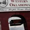 Bank thermometer in Vici shows afternoon temperature to be 108 degrees.     Lack of rain and a string of days when temperatures exceeded  100 degrees have created extreme conditions for farmers, ranchers and citizens of many communities in western Oklahoma.   by Jim Beckel, The Oklahoman.