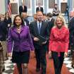 Delaware Gov. Jack Markell is escorted from the Senate Chamber by Sens. Catherine Clutier, left, and Bethany Hall-Long after delivering his state of the state speech Thursday, Jan. 17, 2013 in Dover, Del. (AP Photo/The News Journal, Gary Emeigh)