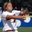 Arizona pitcher Jennie Finch throws to a Florida State batter Sunday, May 26, 2002, during a semifinal game in the NCAA Women's College World Series in Oklahoma City. Second-seeded Arizona needed 11 innings to defeat Florida State 6-2 and advance to Monday's championship game against California. Finch pitched all 11 innings for Arizona and recorded 17 strikeouts. Finch also got the game-winning RBI with a solo home run in the 11th inning. (AP Photo/Jerry Laizure)