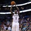 New Orleans Pelicans guard Anthony Morrow (3) shoots the ball during overtime of an NBA basketball game against the Brooklyn Nets in New Orleans, Monday, March 24, 2014. The Pelicans won 109-104. (AP Photo/Jonathan Bachman)