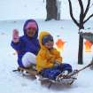 Avery and Brody Allen enjoying their first sled ride.  Community Photo By:  Curtis Allen  Submitted By:  curtis, shawnee