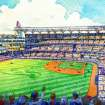 This artist rendering provided by the Atlanta Braves shows the team's proposed new ballpark in Cobb County. The Braves say the stadium will seat 41,500 and include plenty of revenue-generating amenities around the ballpark. The stadium is scheduled to open in 2017, replacing Turner Field. (AP Photo/Atlanta Braves)