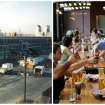 This combination photo shows, left, a 1986 photo provided by the Harpoon Brewery of the brewery under construction and right, patrons sampling a variety of beers at the Beer Hall on July 1, 2013 in Boston. Harpoon Brewery opened on the South Boston waterfront in 1986, when it was surrounded by auto body shops and little else. Now the brewery draws more than 85,000 people a year from tours and tastings, and thousands more from festivals. (AP Photo/Harpoon Brewery)