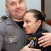 Officer Katie Lawson receives a hug from another officer as she is greeted by the nearly 40 fellow officers who remained in the courtroom after her shooters were sentenced. Brothers Alex Mercado and Hector Escalante were given separate sentences by District Judge Donald Deason in an Oklahoma County courtroom Tuesday afternoon, Nov. 8, 2011 for  their involvement in shooting Oklahoma City police officer Katie Lawson during an ambush in south Oklahoma City in Aug, 2010.   Chief Bill Citty and his four assistant chiefs were seated among  nearly 40 uniformed police officers in the courtroom as the sentences were imposed. Several said they came to support Officer Lawson.  Photo by Jim Beckel, The Oklahoman
