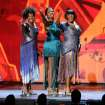 From left, Gladys Knight, Fantasia Barrino and Patti LaBelle perform onstage at the 68th annual Tony Awards at Radio City Music Hall on Sunday, June 8, 2014, in New York. (Photo by Evan Agostini/Invision/AP)
