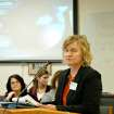 Tammi Kromenaker, director of Fargo's Red River Women's Clinic, testifies before the House Human Services Committee on Wednesday Jan. 31, 2013 in Bismarck, N.D. Kromenaker says proposed legislation that would impose more stringent restrictions on abortions in North Dakota are aimed at shutting down her clinic,  which is North Dakota's sole abortion provider. (AP Photo/James MacPherson)