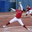 OU pitcher Keilani Ricketts fires a pitch on her way to a three hit shutout during the University of Oklahoma - Louisiana State University game at