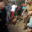 EDS NOTE GRAPHIC CONTENT -- Egyptian men surround the bodies of two men who were beaten and hung by vigilantes after being accused of theft in Samanod, about 55 miles (90 kilometers) north of Cairo, Egypt, Sunday March 17, 2013. Egyptian vigilantes beat two men accused of stealing a motorized rickshaw, then stripped them half-naked and hung them still alive in a bus station in a small Nile Delta town on Sunday, according to security officials who said both men died. The killings came a week after the attorney general's office encouraged civilians to arrest lawbreakers and hand them over to police. (AP Photo)