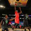 West Team's Kevin Durant, of the Oklahoma City Thunder (35) heads to the hoop against =Team East during the NBA All Star basketball game, Sunday, Feb. 16, 2014, in New Orleans. (AP Photo/Bob Donnan, Pool)