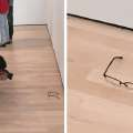 A pair of glasses were left on the floor at a...