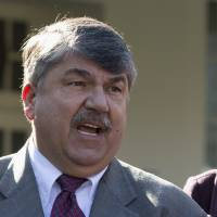 Photo - FILE - This Nov. 13, 2012 file photo shows AFL-CIO President Richard Trumka speaking to reporters outside the White House in Washington. The nation's labor unions suffered sharp declines in membership last year, the Bureau of Labor Statistics said Wednesday, led by losses in the public sector as cash-strapped state and local governments laid off workers and _ in some cases _ limited collective bargaining rights.  (AP Photo/Carolyn Kaster, File)