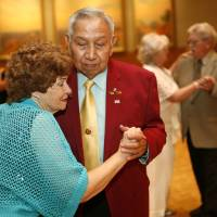Photo -  Opal Tucker and Herbert Switch dance during the 18th Annual Young at Heart Senior Prom at the National Cowboy & Western Heritage Museum. Photo by Sarah Phipps, The Oklahoman   SARAH PHIPPS