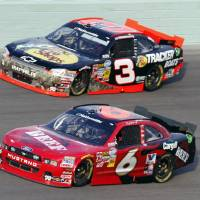 Photo -   Ricky Stenhouse (6) and Austin Dillon (3) race during the NASCAR Nationwide Series auto race at Homestead-Miami Speedway, Saturday, Nov. 17, 2012, in Homestead, Fla. (AP Photo/Alan Diaz)