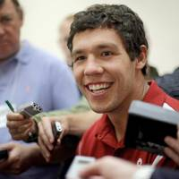 Photo - OU / COLLEGE FOOTBALL: University of Oklahoma's Sam Bradford speaks with the media during the Big 12 Conference Football Media Days in Irving, Texas, Tuesday, July 28, 2009. Photo by Bryan Terry, The Oklahoman ORG XMIT: kod