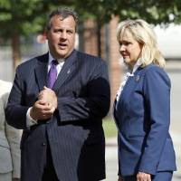 Photo - New Jersey Gov. Chris Christie talks with Oklahoma Gov. Mary Fallin after the two toured the the Oklahoma City National Memorial in Oklahoma City, Wednesday, Aug. 20, 2014. The two governors were at the site of the 1995 Oklahoma City bombing Wednesday in advance of a Republican Governors Association meeting and a fundraising event for Fallin. Christie is the chairman of the Republican Governors Association.(AP Photo/The Oklahoman, Nate Billings) LOCAL STATIONS OUT (KFOR, KOCO, KWTV, KOKH, KAUT OUT); LOCAL WEBSITES OUT; LOCAL PRINT OUT (EDMOND SUN OUT, OKLAHOMA GAZETTE OUT) TABLOIDS OUT