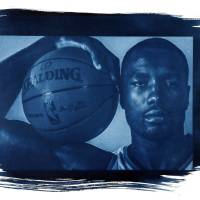 Photo - Power forward Serge Ibaka averaged 13.2 points per game last season for the Thunder.   Photo by Chris Landsberger/Cyanotype print by Nate Billings, The Oklahoman