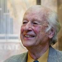 Photo -  In this Saturday, May 15, 2004 file photo Ray Harryhausen visits the Empire State Building in New York. Ray Harryhausen, a special effects master whose sword-fighting skeletons, six-tentacled octopus, and other fantastical creations were adored by film lovers and admired by industry heavyweights, has died. He was 92. Biographer and longtime friend Tony Dalton confirmed that Harryhausen died Tuesday May 7, 2013 at London's Hammersmith Hospital, where the special effects titan had been receiving treatment for about a week. (AP)