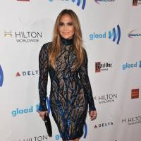Photo - Jennifer Lopez arrives at the 25th Annual GLAAD Media Awards on Saturday, April 12, 2014. (Richard Shotwell/Invision/AP)