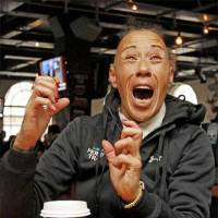 Photo -  Blossom Cameron, Steven Adams' legal guardian during his time in Wellington, New Zealand, reacts to Adams being selected by the Thunder in Thursday's draft.