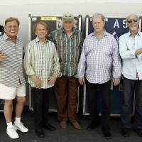 Photo -   In this April 18, 2012 photo, The Beach Boys, from left, Bruce Johnston, Al Jardine, Mike Love, Brian Wilson and David Marks pose for a portrait in Burbank, Calif. After decades of prolonged separations, legal spats and near reunions, the core Beach Boys are back together, both on stage and for an upcoming new album. (AP Photo/Matt Sayles)