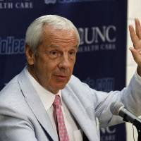 Photo -   North Carolina coach Roy Williams responds to questions during the team's NCAA college basketball media day in Chapel Hill, N.C., Thursday, Oct. 11, 2012. (AP Photo/Gerry Broome)