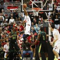 Photo - Texas Tech's Jaye Crockett (30) dunks against Baylor during an NCAA college basketball game in Lubbock, Texas, Wednesday, Jan, 15, 2014. (AP Photo/Lubbock Avalanche-Journal, Tori Eichberger) ALL LOCAL TV OUT