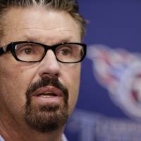Photo - Tennessee Titans new senior defensive assistant Gregg Williams talks with reporters during a news conference, Thursday, Feb. 7, 2013, in Nashville, Tenn.  Williams thanked NFL Commissioner Roger Goodell for reinstating him and he also apologized while taking