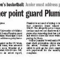 Photo - THE OKLAHOMAN NEWSPAPER / ARTICLE / STORY: OU women's basketball: Junior must address petty larceny complaint   Sooner point guard Plumley is arrested     with photo of Jenna Plumley