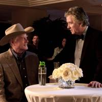Photo - This publicity image released by TNT shows Larry Hagman as J.R. Ewing, left, and Patrick Duffy as Bobby Ewing in a scene from